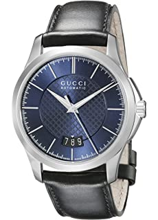 Gucci G-Timeless Stainless Steel Mens Watch with Black Leather Band(Model:YA126443