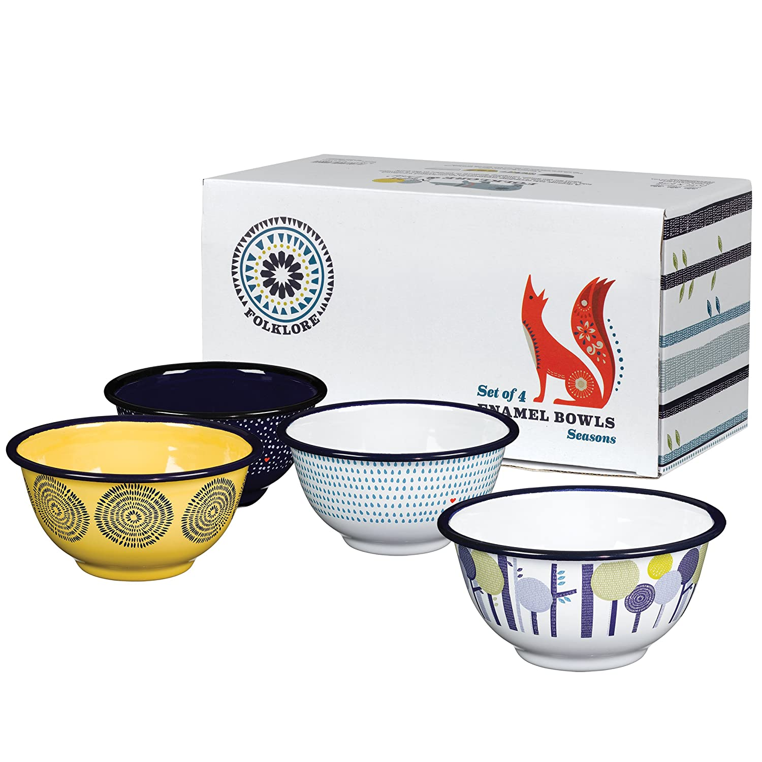 Folklore Enamel Bowls, Seasons Designs (Set of 4) AFOL030