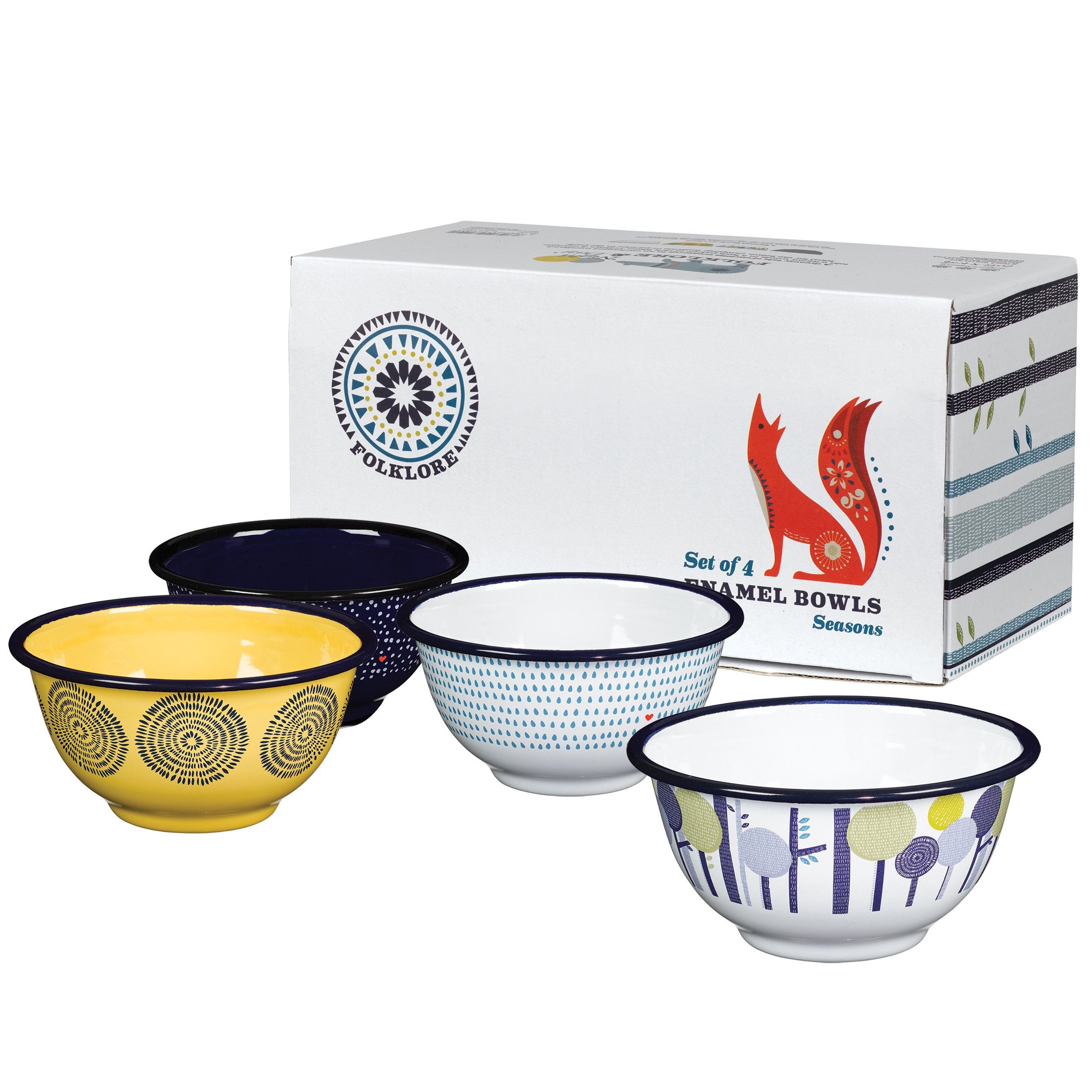 Folklore Enamel Bowls, Seasons Designs (Set of 4)