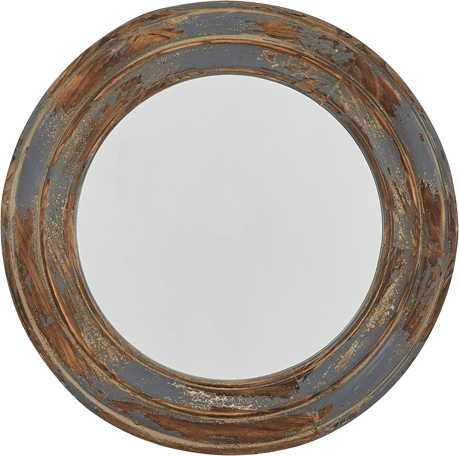 Stone & Beam Round Distressed Rustic Wood Hanging Wall Mirror