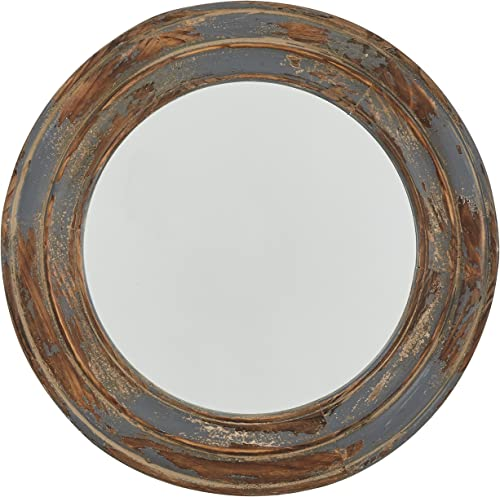 Amazon Brand Stone Beam Round Distressed Rustic Wood Hanging Wall Mirror Decor