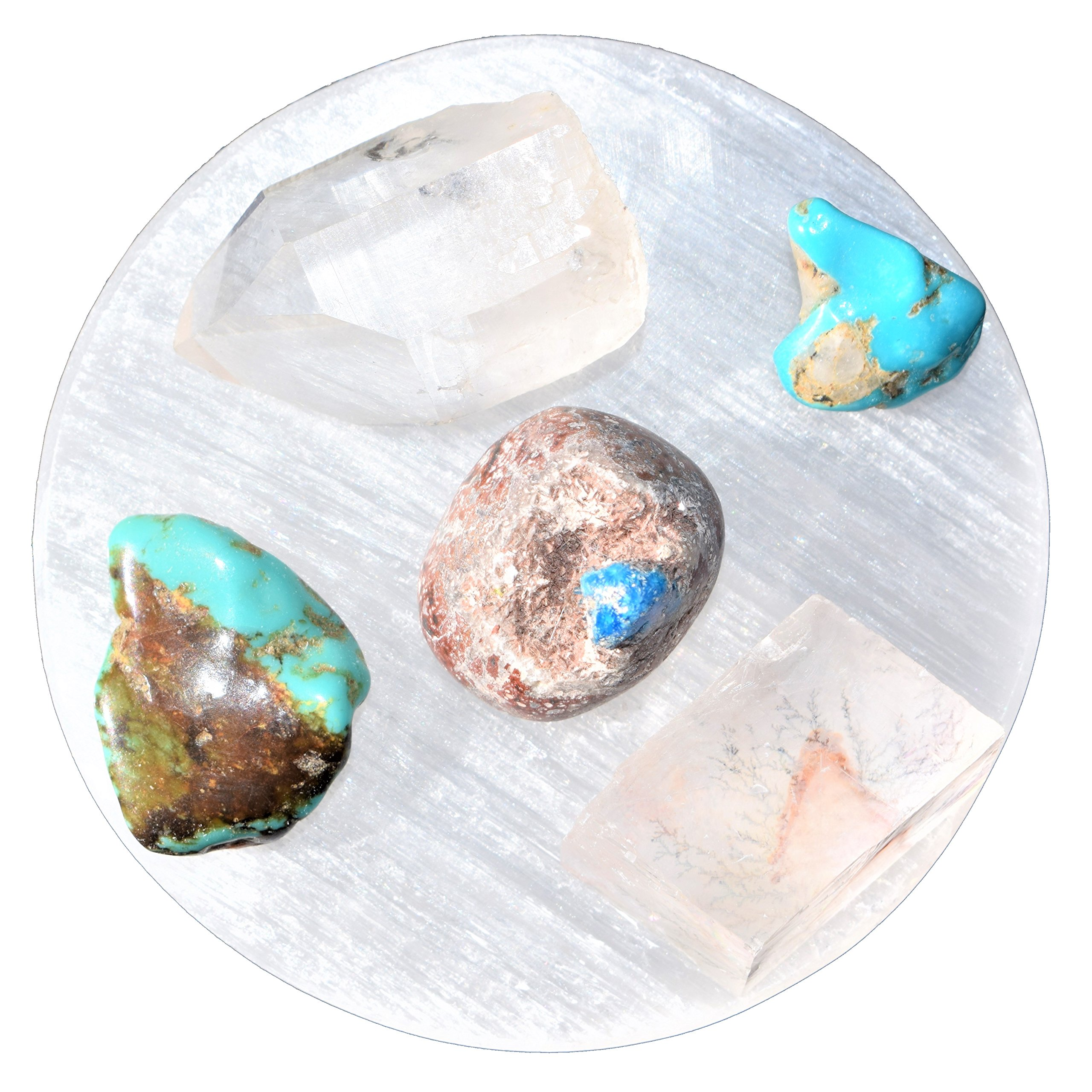CHARGED 3'' Selenite Disc Plate - Polished Flat Crystal Charging Station POWERFUL HEALING ENERGY REIKI by ZENERGY GEMS