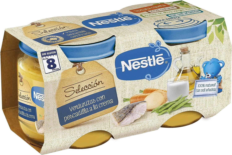 Nestlé Naturnes - Selección Verduritas con Pescadilla a la Crema - A Partir de 8 Meses - Pack de 5 x (2x200 g) - Total: 10 Tarritos de 200 g