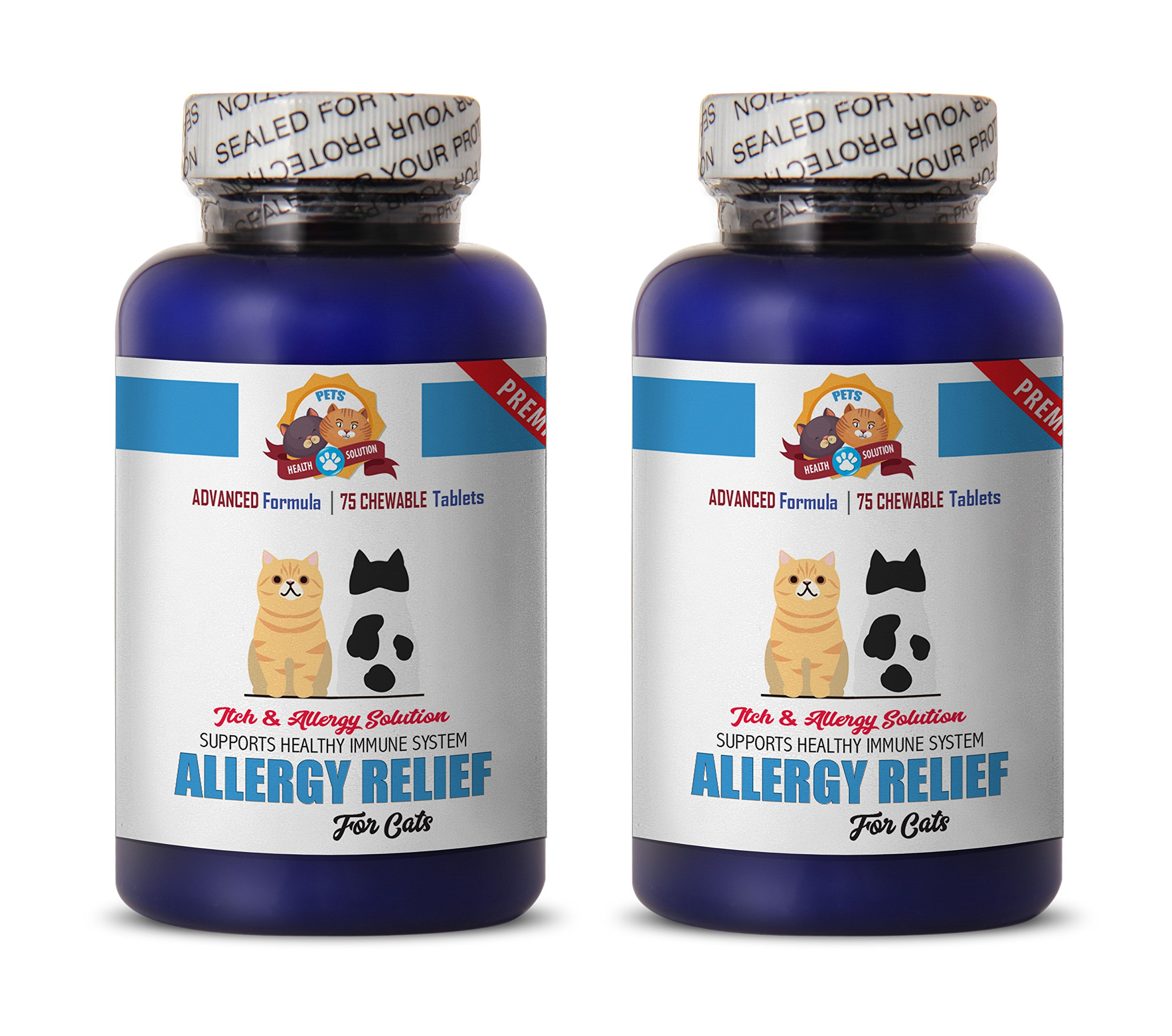 PETS HEALTH SOLUTION cat allergy blocker - PREMIUM ALLERGY RELIEF FOR CATS - IMMUNE SUPPORT - STOP THAT ITCH - TREATS - cat allergy supplement - 150 Treats (2 Bottle) by PETS HEALTH SOLUTION
