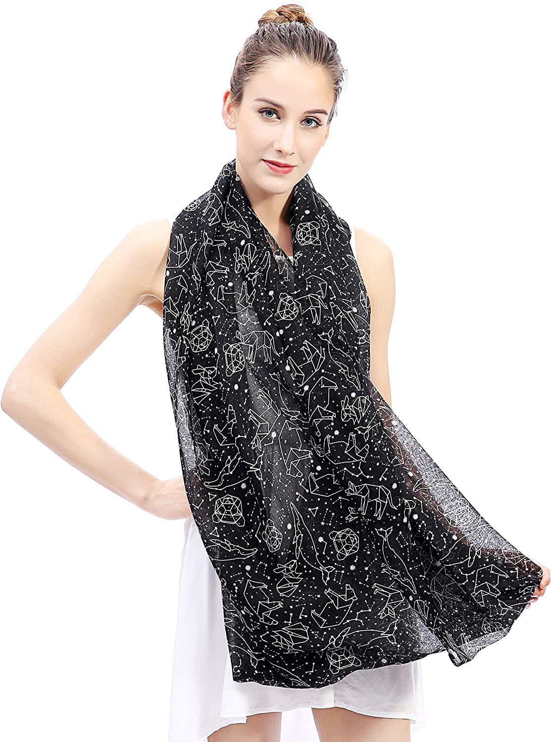 Lina /& Lily Constellation Star Print Womens Infinity Loop Scarf Navy Blue