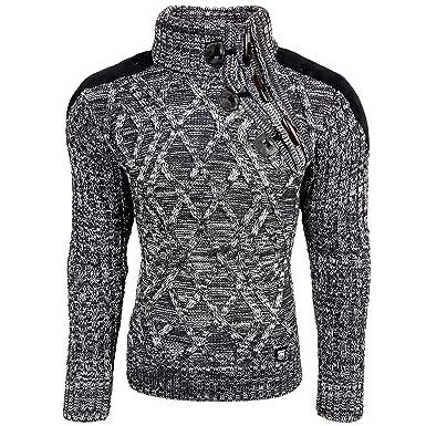 AVRONI Herren Pullover RN13283 Grobstrick Pulli Sweatshirt Strickjacke  Jacke Neu, Größe:S, Model