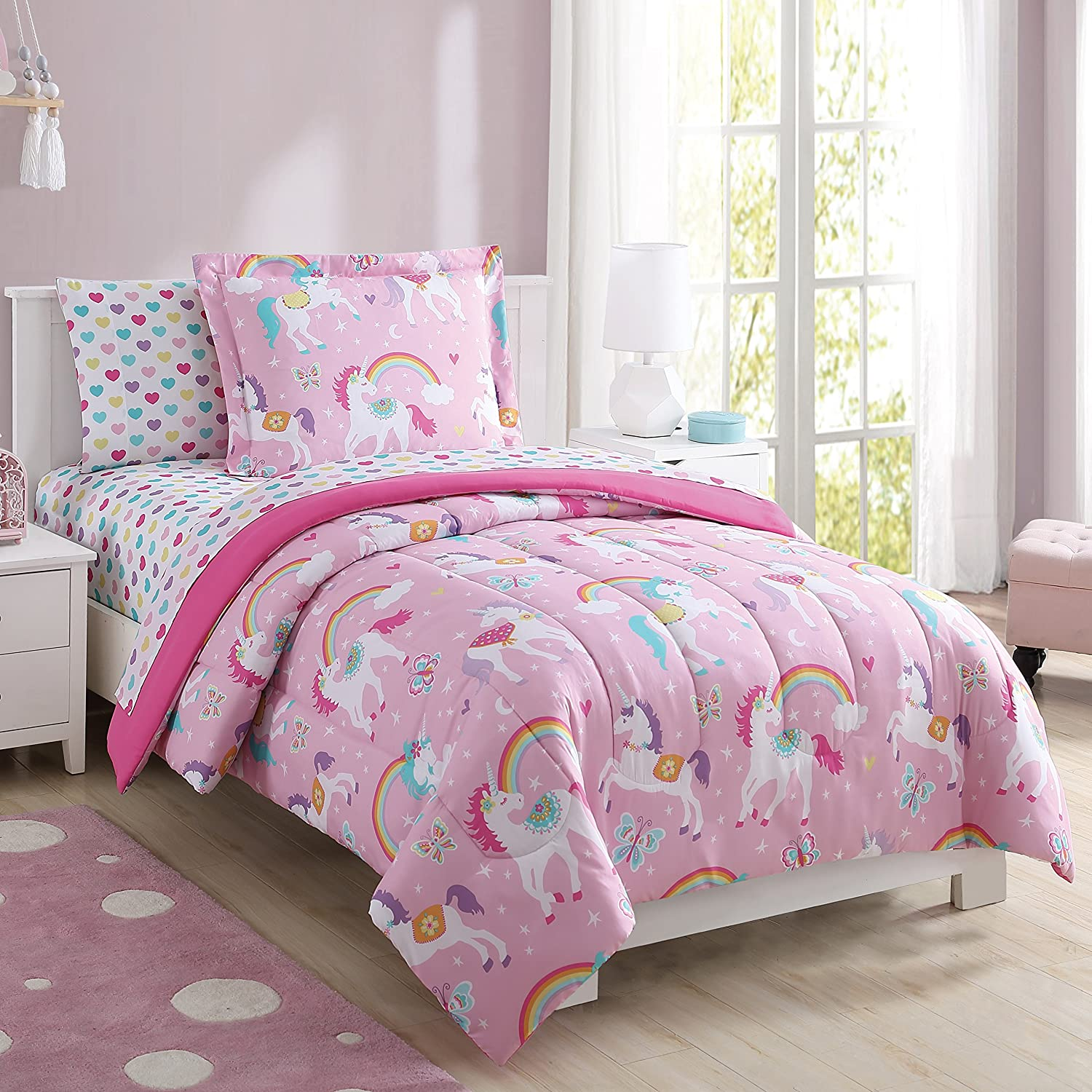 Super Soft, Cute, Fun and Whimsical Mainstays Kids Rainbow Unicorn With Images of Unicorns. Butterflies and Rainbows Girls Bed in a Bag Complete Bedding Set, Pink, Full