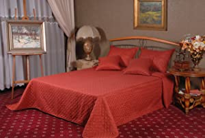Tache Home Fashion Dark Red Orange Bauble Matelasse Bedspread Set, Full
