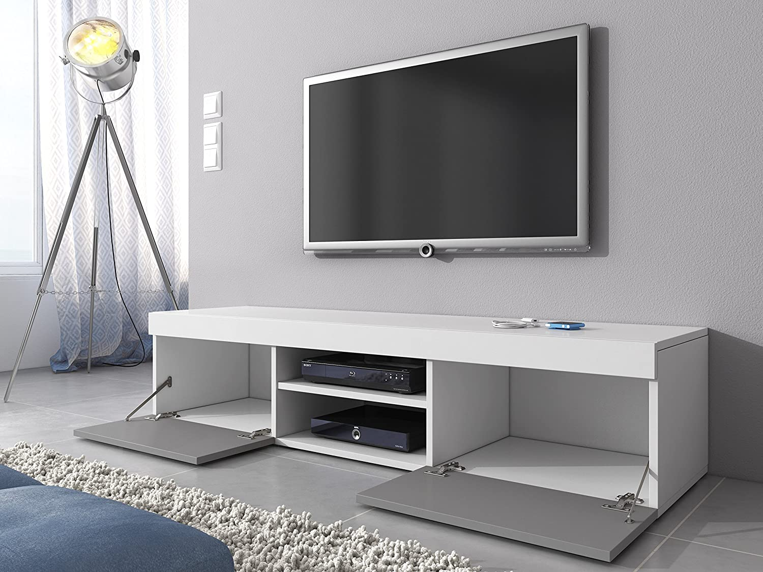 Tv Unit Cabinet Stand Mambo Body White Matte Amazon Co Uk  # Groupon Meuble Tv
