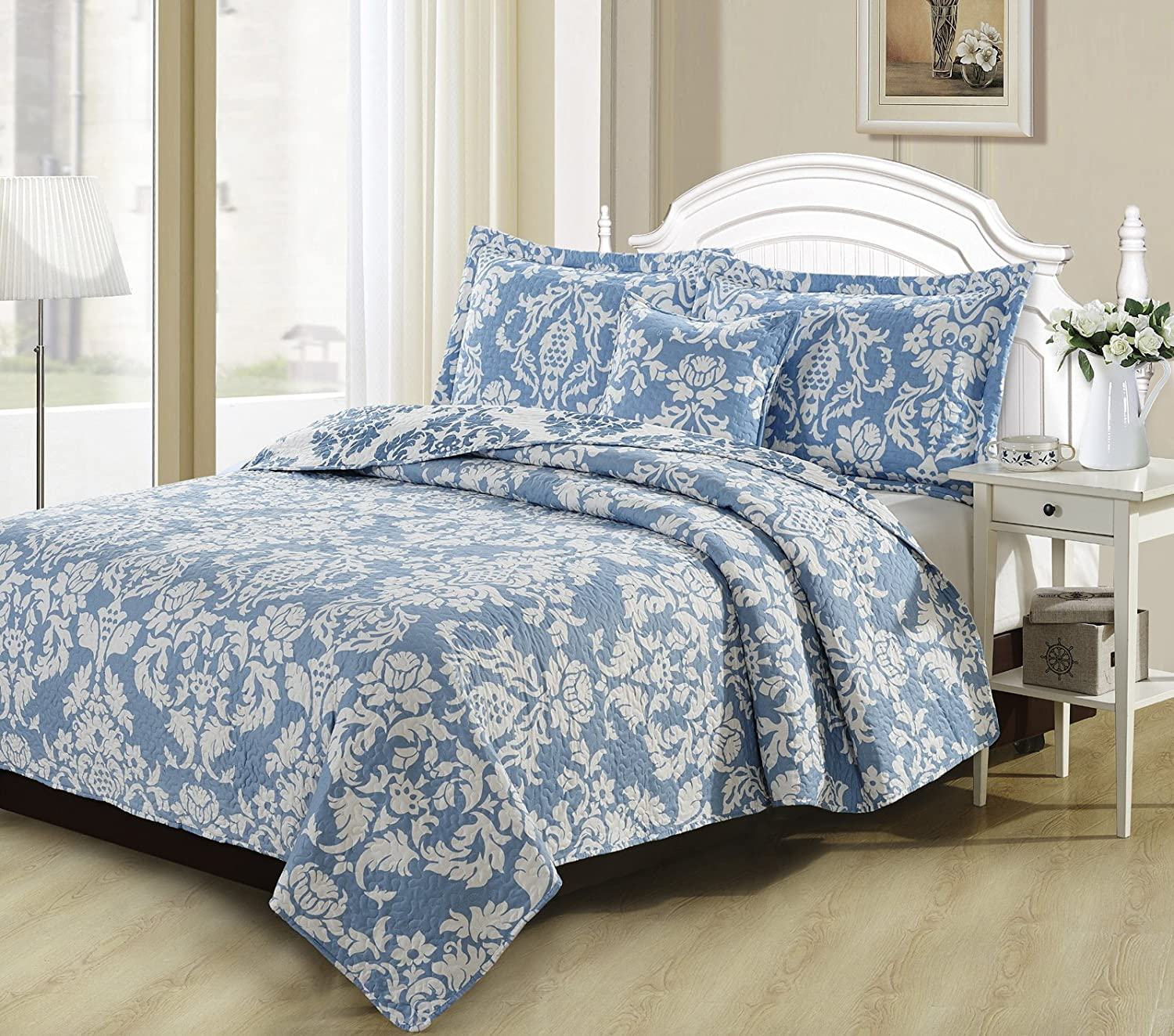 DaDa Bedding Collection Enchanted Breeze Elegant Victorian Damask Jacquard Quilted Coverlet Bedspread Set