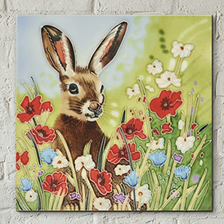 Hare in Flowers by Judith Yates Decorative Ceramic Picture Tile 8x8 ...