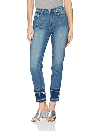 29a706456be Hudson Jeans Women's Zoeey High Rise Straight Crop Double Step Hem 5 Pocket  Jean at Amazon Women's Jeans store