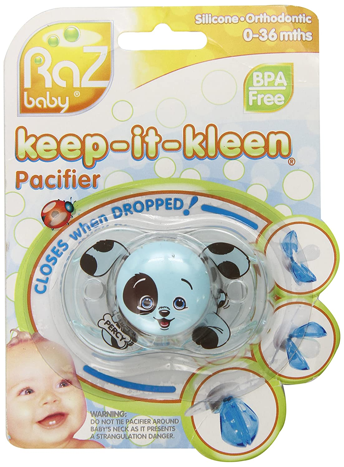 Amazon.com : RaZbaby Keep-it-Kleen Pacifier - Percy Puppy ...