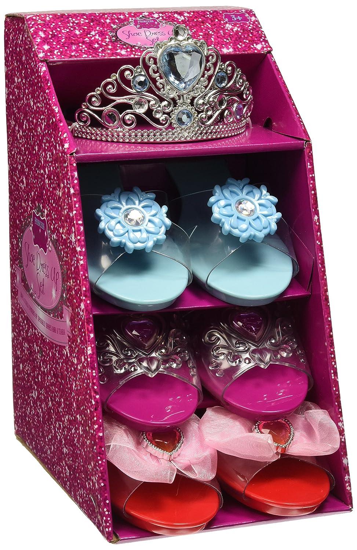 Girls Pink Pretty Princess Shoes Diamante Dress Up Fancy Gift Set (Set of 3 Shoes & Pink Tiara) 4893884701288