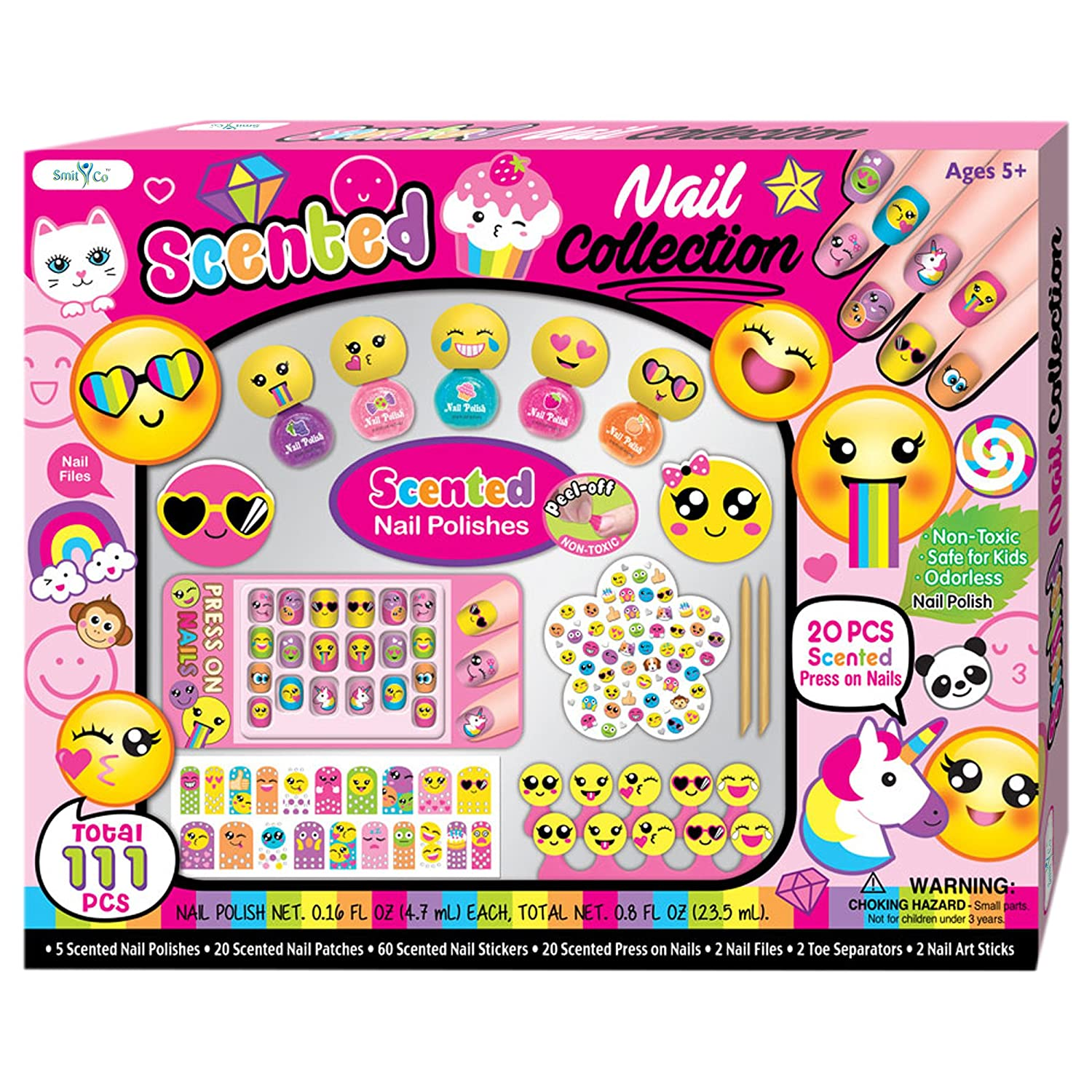 SMITCO Kids Nail Polish - 5, 6, 7, 8, 9 and 10 Year Old Girls Birthday Gifts - Non-Toxic Nail Art Kit That Includes Everything for a Mani Pedi