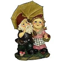 Garden Gnome Statue - Rainy Day Gnomes Under Umbrella - Lawn Gnome