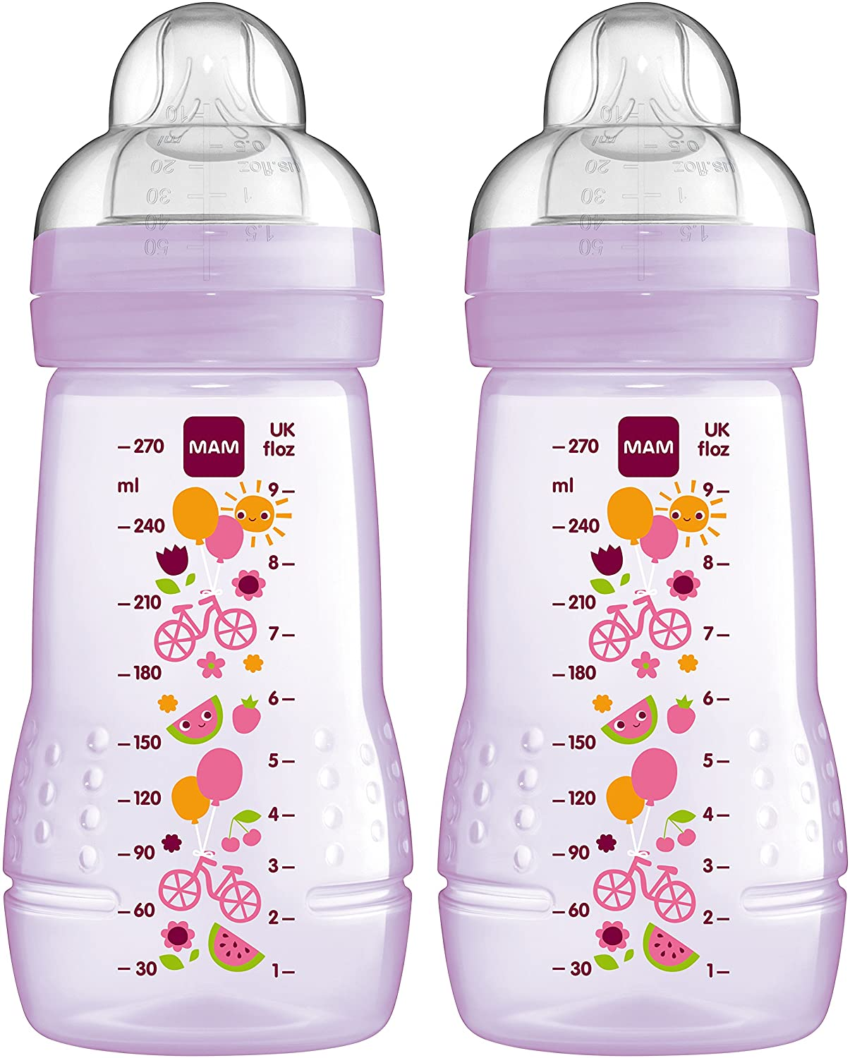 MAM Easy Active Baby Bottle, Medium Flow - 270ml (Pack of 2), Pink Mam UK Imports FB0802G Accessory
