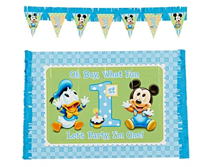 Baby Mickey Mouse 1st Birthday High Chair Decoration Kit Amazoncouk Toys Games