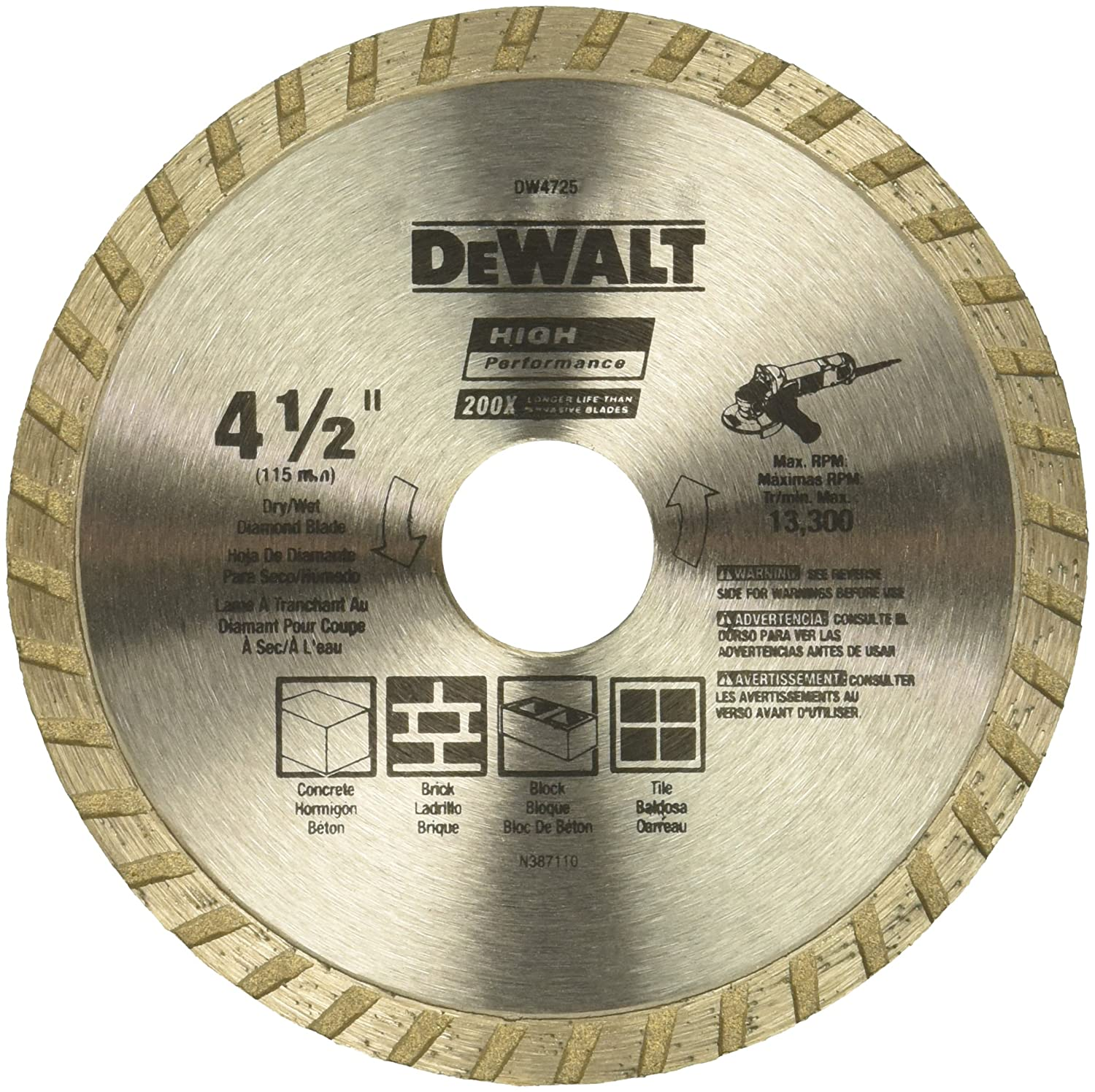 DEWALT DW4725 High Performance 4-1/2-Inch Dry Cutting Continuous Rim Diamond Saw Blade with 7/8-Inch Arbor for Masonry