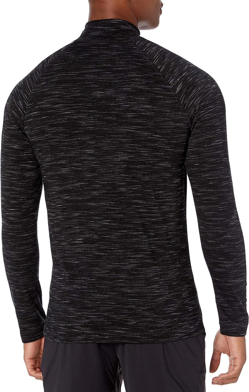Amazon Brand - Peak Velocity Men's Merino Jersey Quarter-Zip Mock-Neck Long Sleeve Black Melange