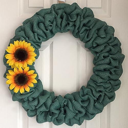 Burlap Sunflower Wreath   Fall Burlap Wreath   Fall Wreath For Front Door    Yellow Sunflower