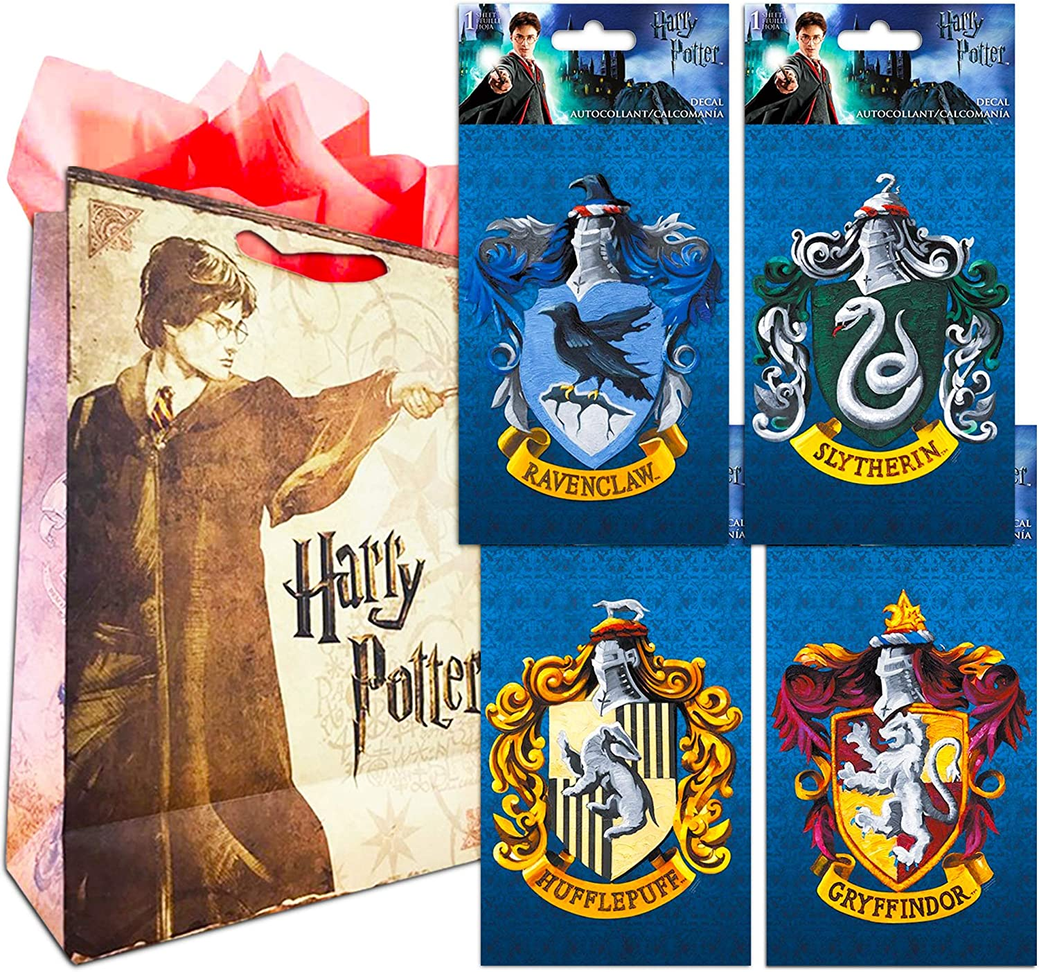 Harry Potter Decal Sticker Super Set ~ Bundle of 4 Premium Harry Potter Stickers for Room Decor, Car, Laptop (All 4 Hogwarts Houses with Bonus Party Bag)