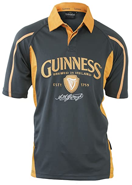 a1414b71087 Amazon.com : Guinness Signature Performance Rugby Jersey - Grey ...