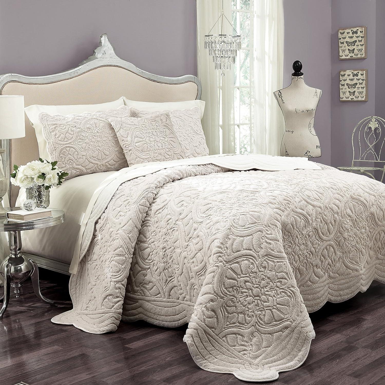 VUE Plush Décor 100% Cotton Coverlet Cover Sets with 2 Decorative Shams, King, Ivory