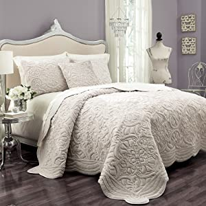 VUE Plush Décor 100% Cotton Coverlet Cover Sets with 2 Decorative Shams, King, Ivory