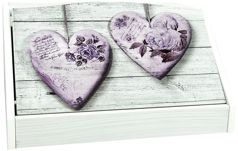 Portapane con decoro in 'Rose heart violet' in legno white dalle dimensioni di 30x40x20 cm Lupia