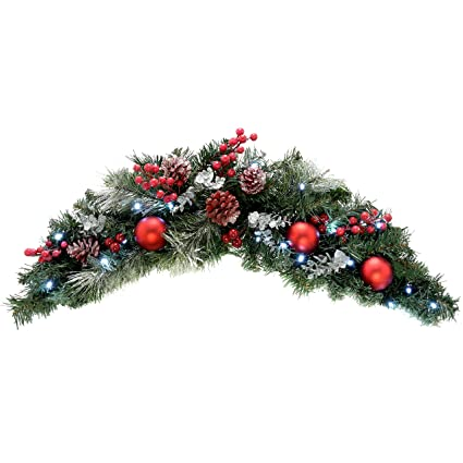 Werchristmas Pre Lit Decorated Arch Garland Illuminated With 20 Cool White Led Lights 90 Cm Frosted