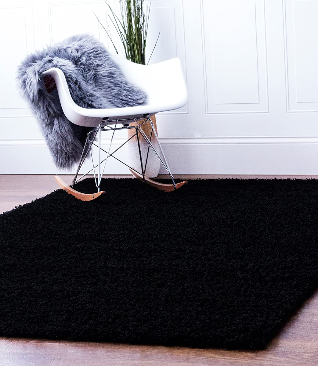 Super Area Rugs Black Shag Rug, 2-Feet by 3-Feet, 2x3 Solid & Thick Stain-Resistant Non-Shed Mat