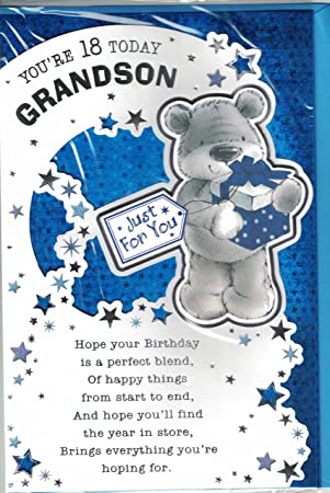 Grandson 18th Birthday Card Youre 18 Today Modern Cute
