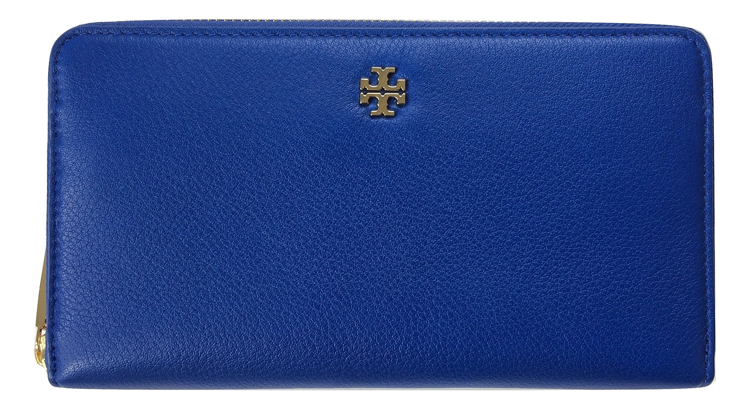 Tory Burch Mercer Zip Soft Pebbled Leather Continental Wallet Style No. 31412 (Jelly Blue) by Tory Burch