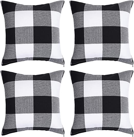 Amazon Com Aneco 4 Pack Buffalo Plaid Throw Pillow Covers Black And White Plaid Cushion Covers Throw Pillow Cases 16 X 16 Inches Home Kitchen