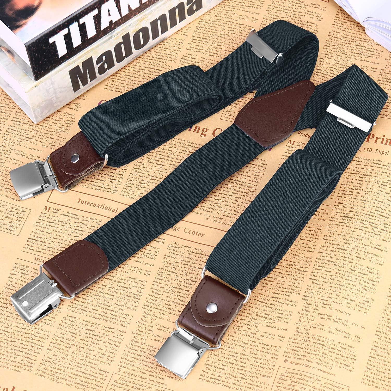 5123-Red Buyless Fashion Mens Suspenders Elastic Adjustable 48 in Y Shape Heavy Duty 1 /¼