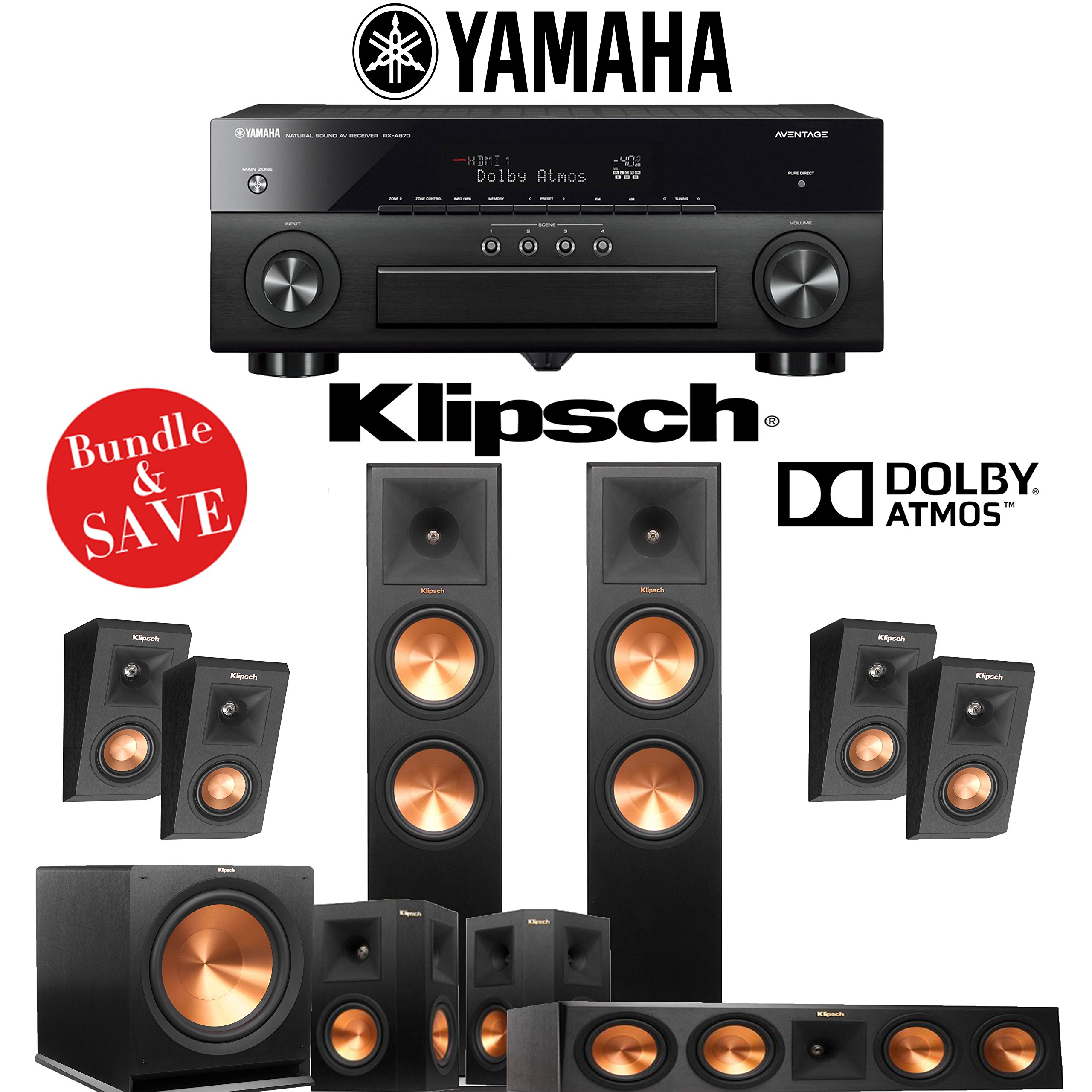 Klipsch RP-280F 5.1.4-Ch Reference Premiere Dolby Atmos Home Theater System with Yamaha AVENTAGE RX-A870BL 7.2-Channel Network AV Receiver by Klipsch