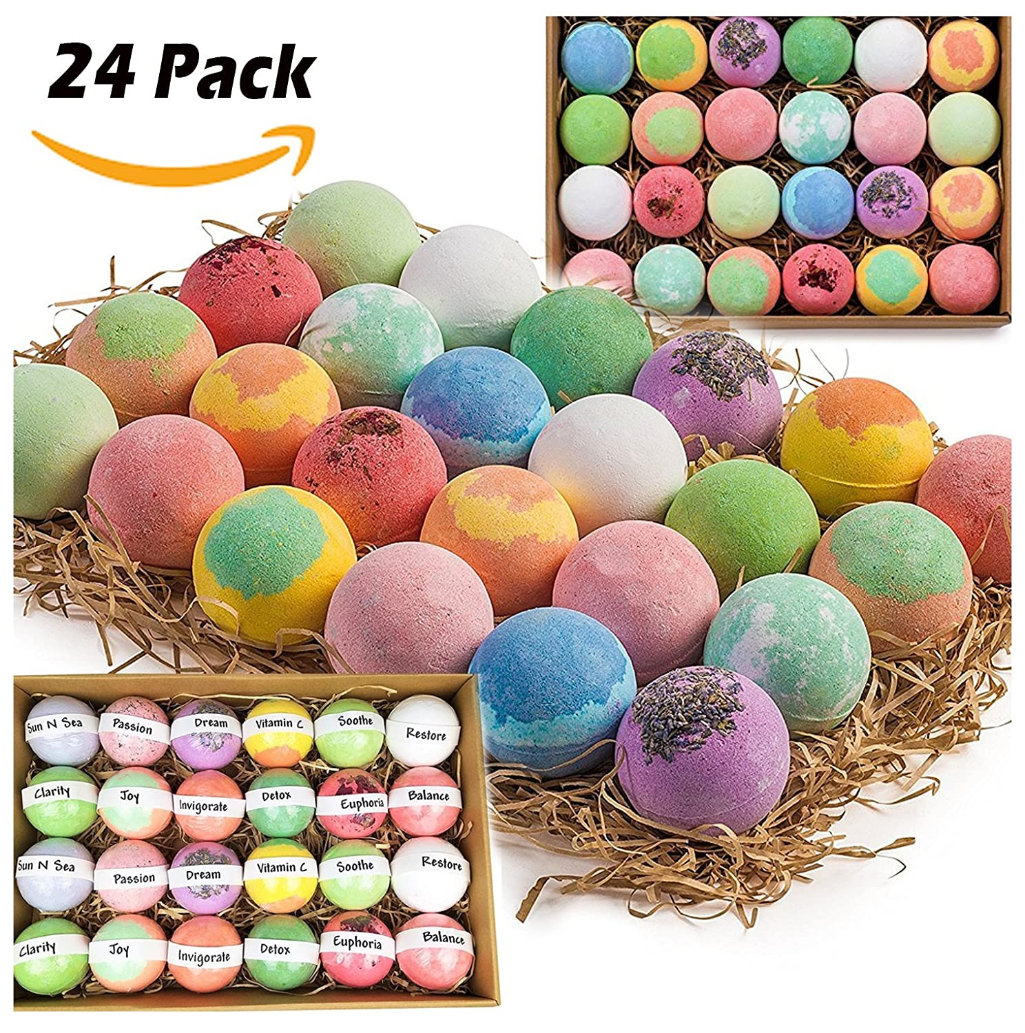 Gift Set of 36 Nurture Me Organic Bath Bombs, Large Bath Fizzies All Natural with Organic Shea & Cocoa Butter Nurture Me Organics