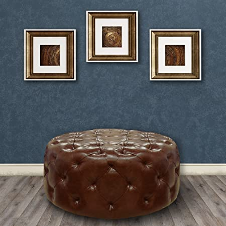 Armen Living LC5005OTBR Victoria Ottoman in Brown Bonded Leather