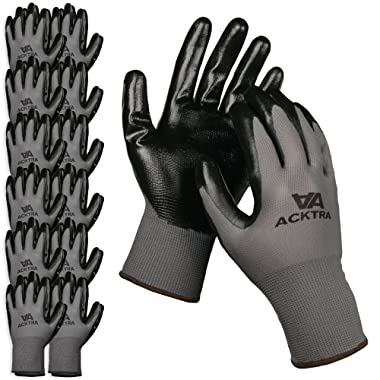 ACKTRA Nitrile Coated Nylon Safety WORK GLOVES 12 Pairs, Knit Wrist Cuff, Multipurpose, for Men & Women, WG003 Grey Large