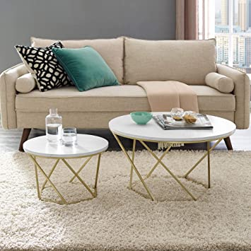 WE Furniture Modern Round Nesting Coffee Accent Table Living Room, Set Of  2, White Marble, Gold