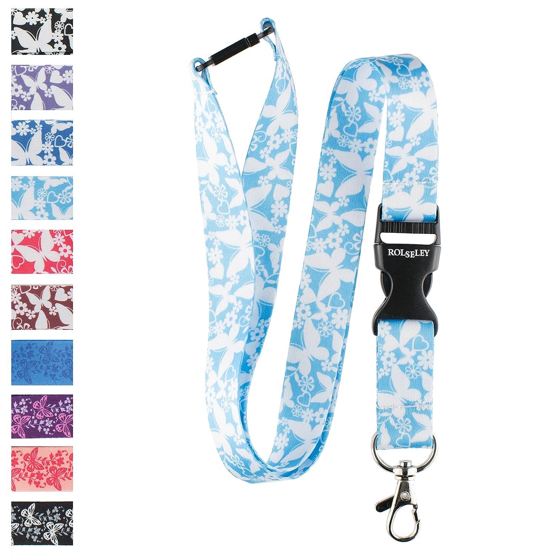 FREE id badge holder Spirius BLUE BUTTERFLY breakaway Lanyard neck strap