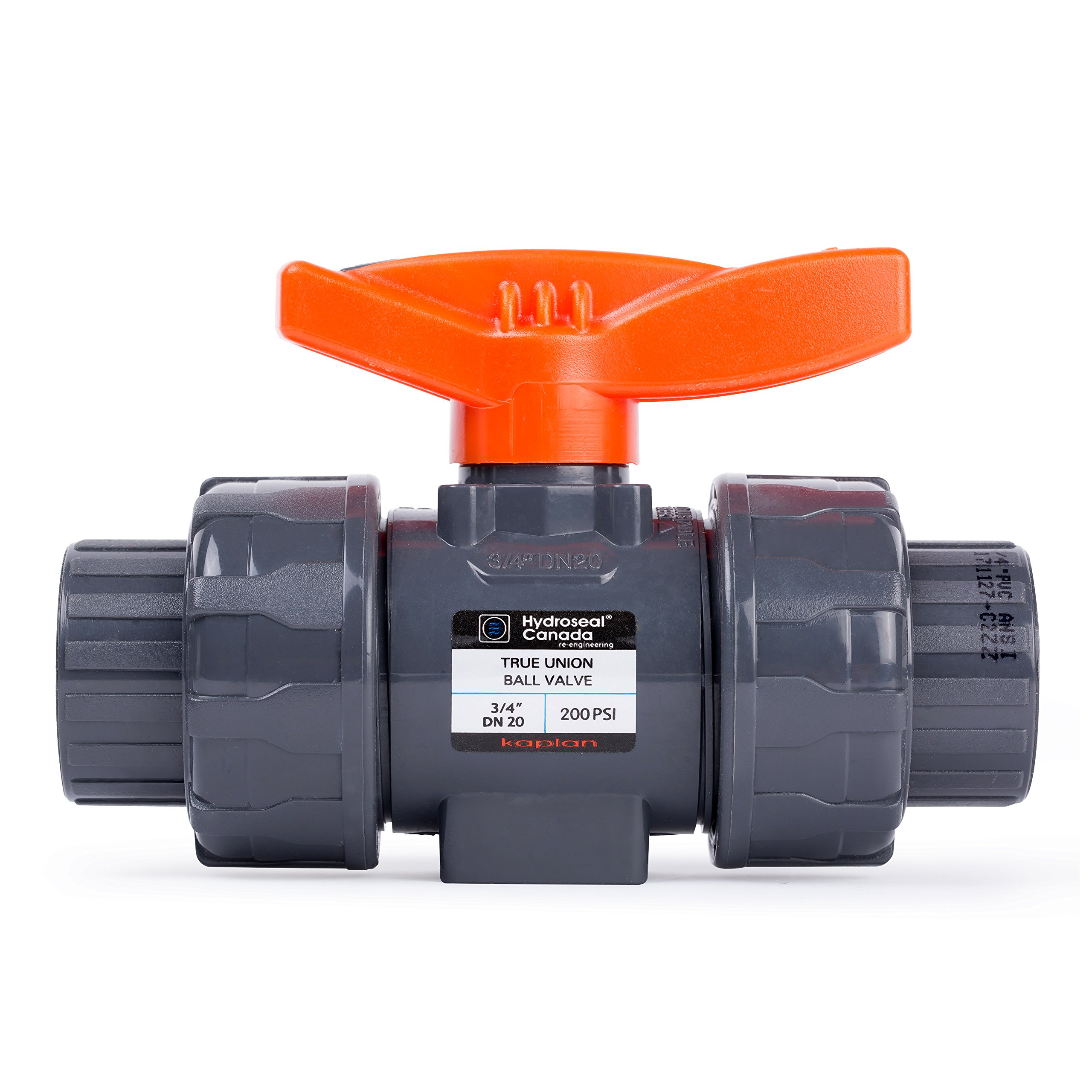 HYDROSEAL Kaplan 3/4'' PVC True Union Ball Valve with Full Port, ASTM F1970, EPDM O-Rings and Reversible PTFE Seats, Rated at 200 PSI @73F, Gray, 3/4 inch Socket (3/4'') by Hydroseal (Image #1)