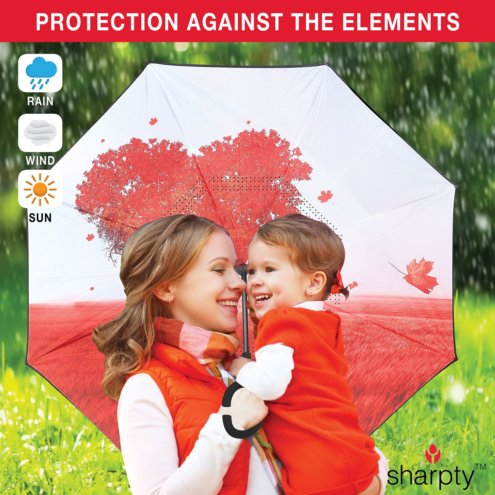 Sharpty Inverted Umbrella, Umbrella Windproof, Reverse Umbrella, Umbrellas for Women with UV Protection, Upside Down Umbrella With C-Shaped Handle (Love Tree) by Sharpty (Image #6)