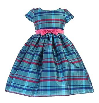 260f56bad75 Ellie Kids Little Girls Turquoise Plaid Taffeta Bow Short Sleeve Flower  Girl Dress 2