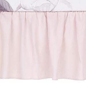 Lambs & Ivy Floral Garden Pink Linen Shirred Crib Skirt/Dust Ruffle