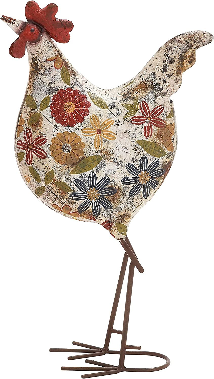 Deco 79 Metal Rooster Lawn Decor, 10-Inch by 17-Inch