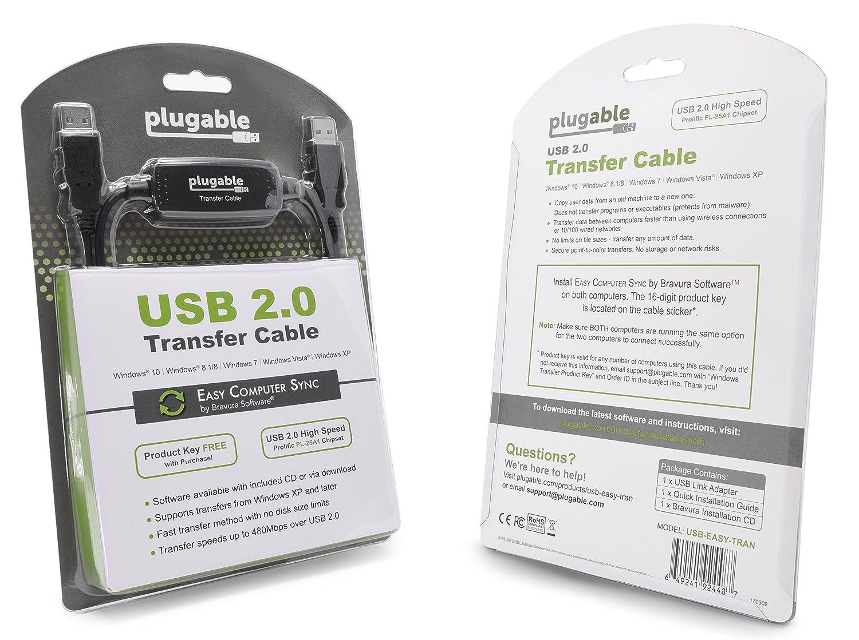 Plugable Transfer Cable Compatible With Windows 10, 8 1, 8, 7, Vista, XP   Includes Bravura Easy Computer Sync Software