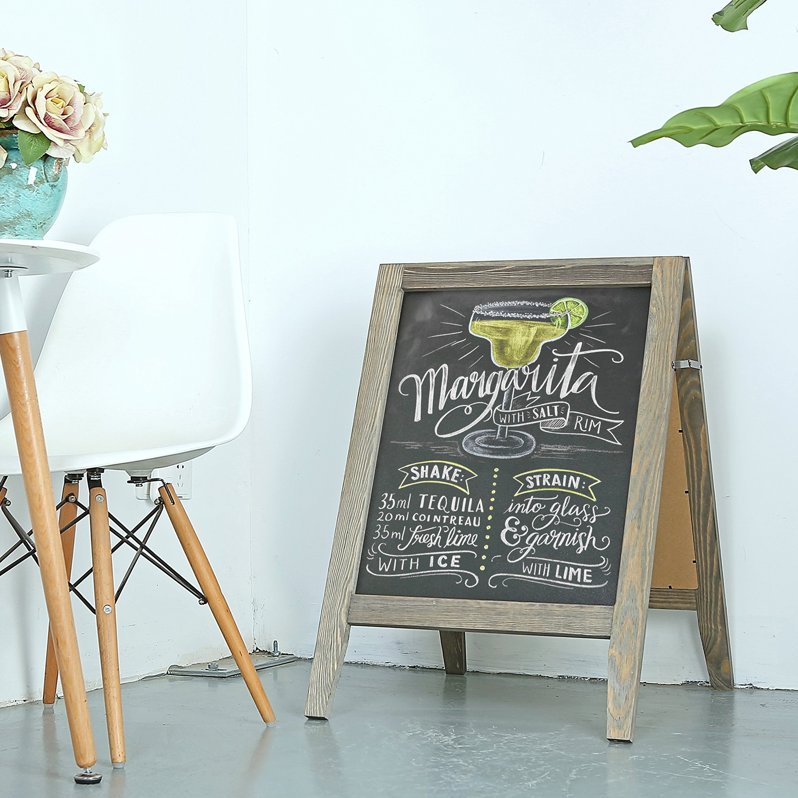Rustic Stained Vintaged Wooden Freestanding A-Frame Double-Sided Chalkboard Sidewalk Sign by MyGift (Image #2)