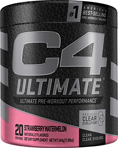 C4 Ultimate Pre Workout Powder Strawberry Watermelon Sugar Free Preworkout Energy Supplement for Men Women 300mg Caffeine 3.2g Beta Alanine 2 Patented Creatines 20 Servings